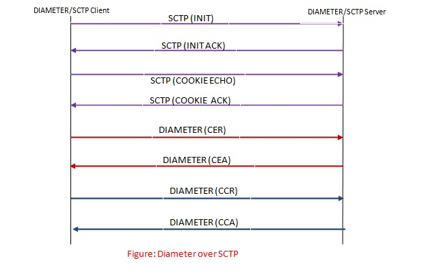 Diameter protocol call flow over SCTP