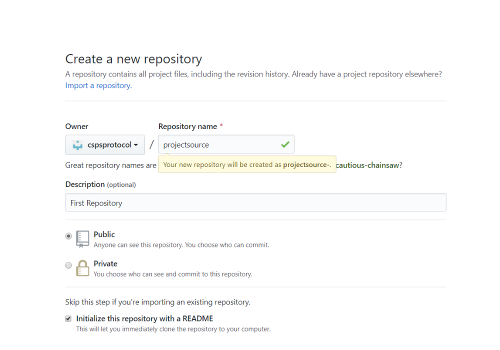 Create New Repository step 2