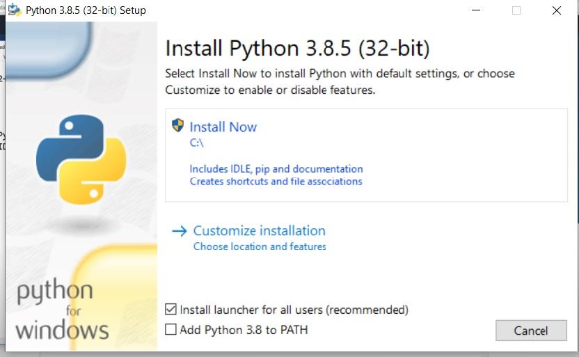 Installation of python on Windows