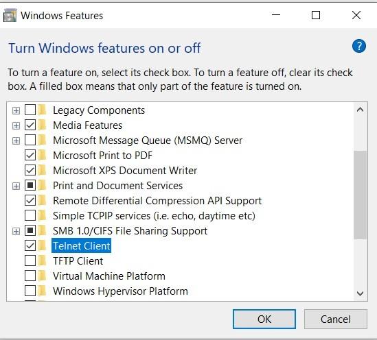Turn on telnet client on Windows 10