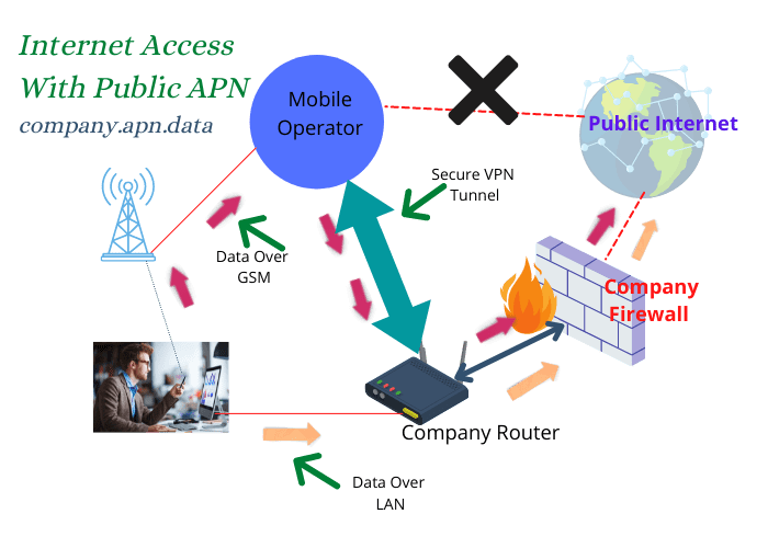 Internet access with private apn